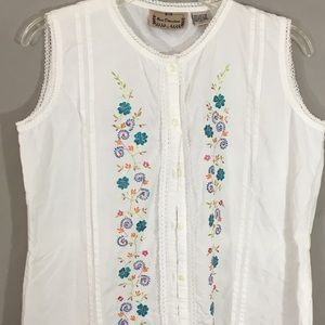 New Direction Cotton Embroidered Blouse Large
